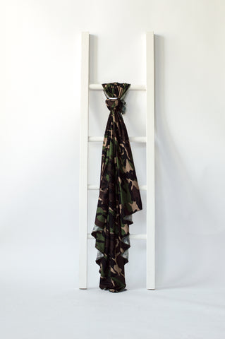 Swaddle baby blanket in camo print design from Little Nursling