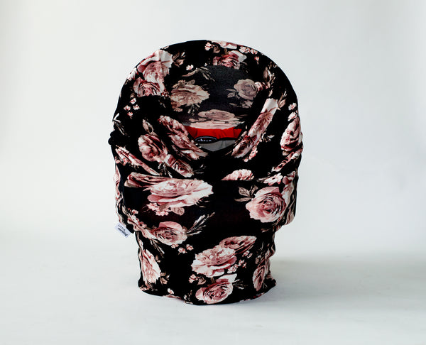 Infant car seat cover available in black dahlia floral print design