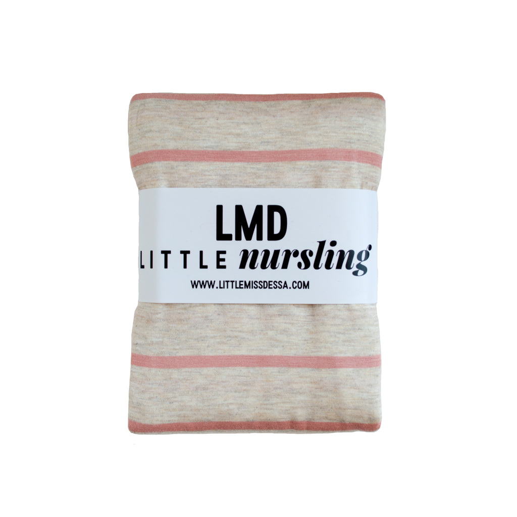 Little Nursling™ Knit Jersey Swaddle Baby Blanket | Pink Blush & Oatmeal Stripe
