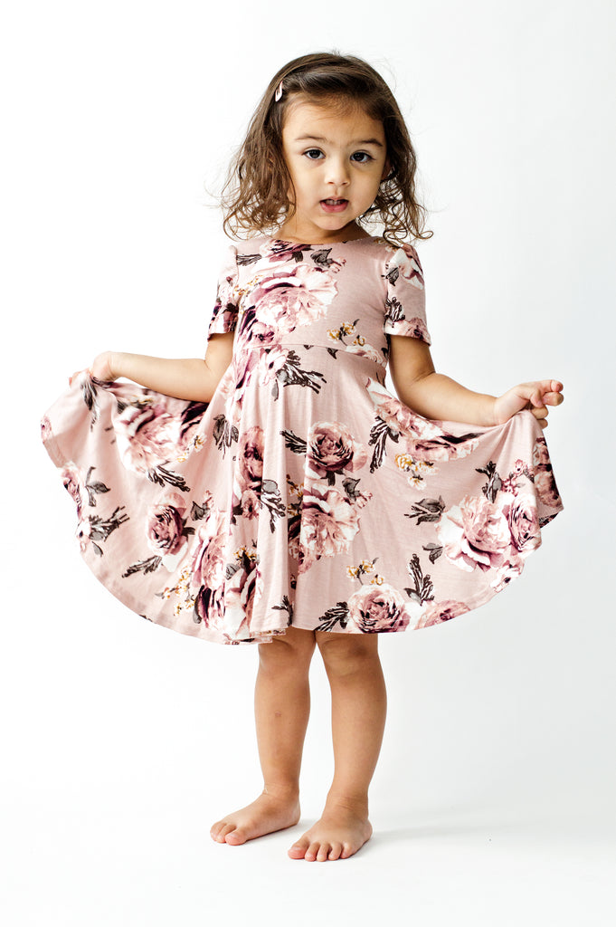 Jersey twirl dress in english rose floral print