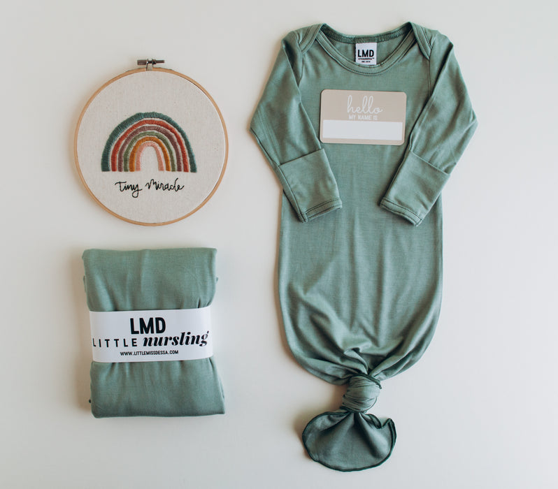 Little Nursling™ Knit Jersey Swaddle Baby Blanket | Eucalyptus - LITTLEMISSDESSA