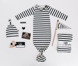 Little Nursling™ Snuggle Knotted Baby Gown | Ivory & Black Stripe