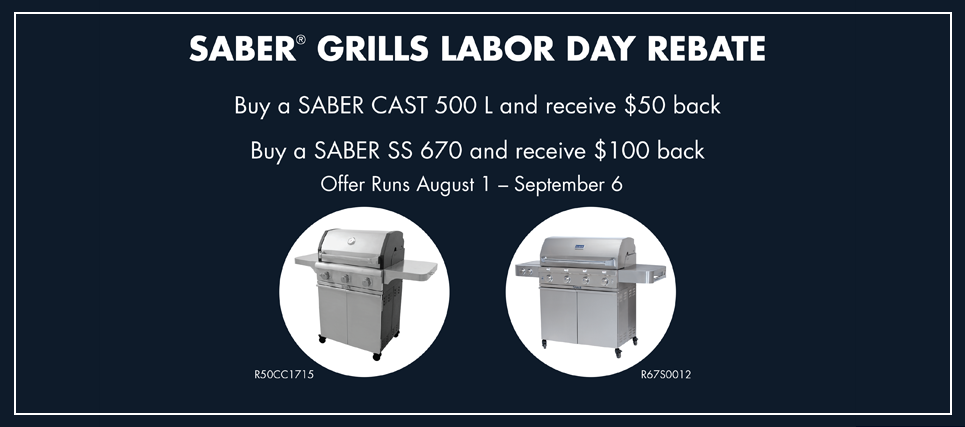 Saber Labor Day Rebate at Jacobs Custom Living