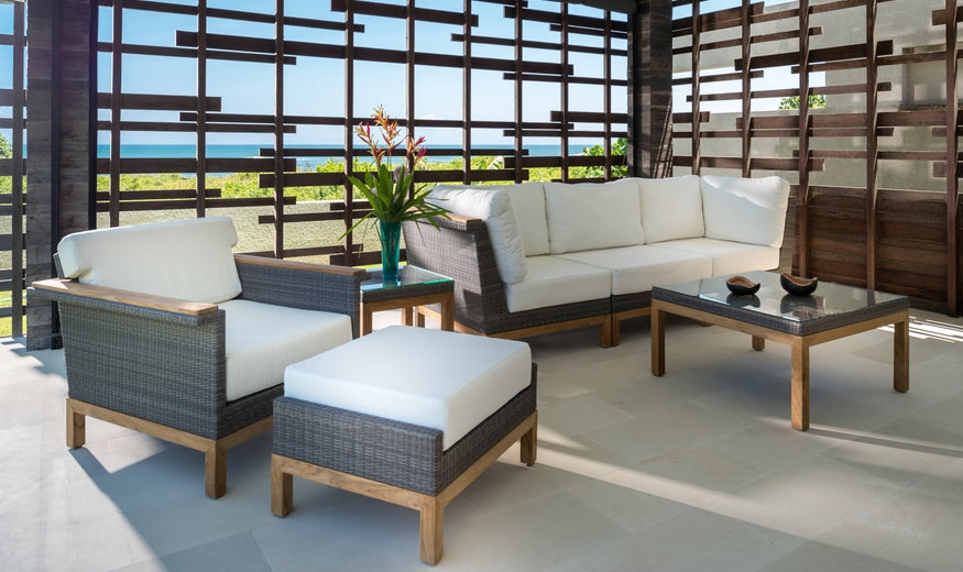 Kingsley Bate's Azores Patio Sectional Ottoman is available at Jacobs Custom Living in Spokane WA.