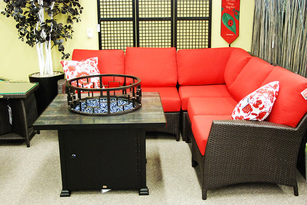 "O.W. Lee Santorini Outdoor Patio 36"" Square Chat Height Fire Pit is available at Jacobs Custom Living."