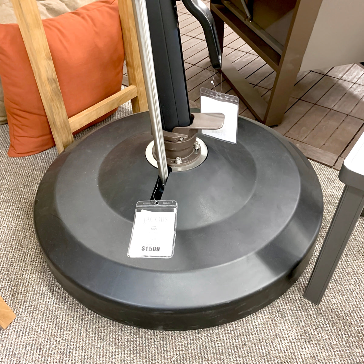 Oasis Rolling Base 330lb Zinc Plated Round Umbrella Base 330R-04 is available in our Jacobs Custom Living Spokane Valley showroom.