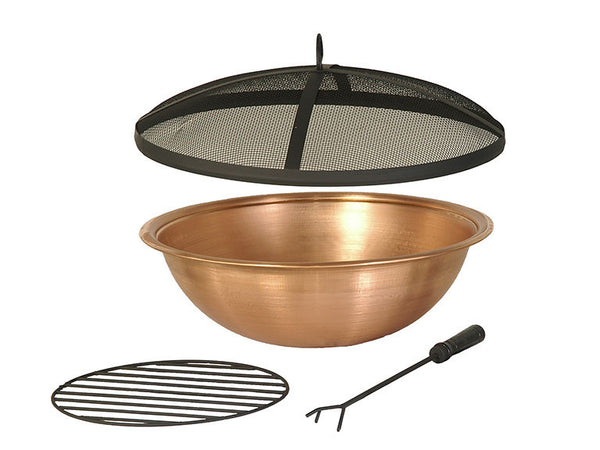 Outdoor Patio Copper Fire Pit Bowl & Accessories