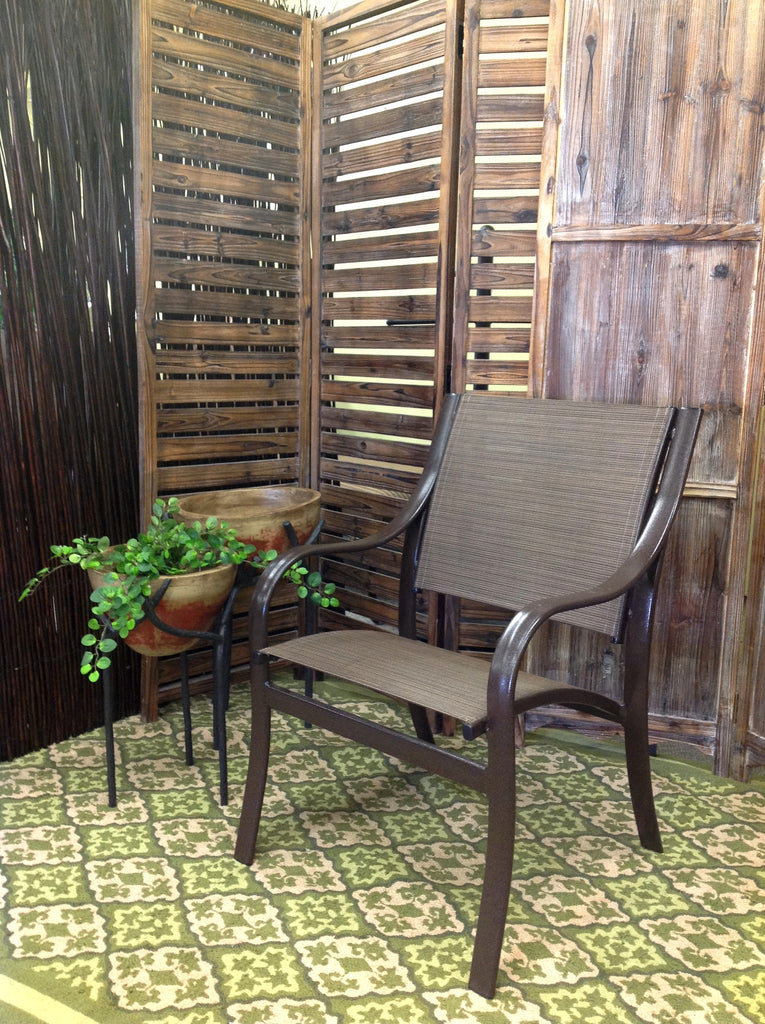 Cordova Outdoor Patio Sling Dining Arm Chair   Clearance