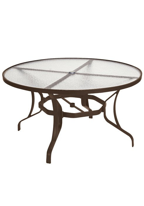 "Obscure Glass Outdoor Patio 54"" Round Dining Umbrella Table"