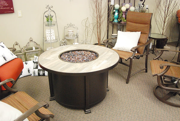 "O.W. Lee Santorini Outdoor Patio 54"" Chat Height Fire Pit is available at Jacobs Custom Livin"