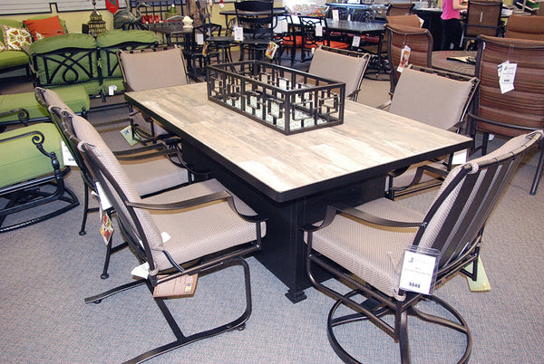 "O.W. Lee Santorini Outdoor Patio 42"" x 72"" Dining Height Fire Table is available at Jacobs Custom Living."