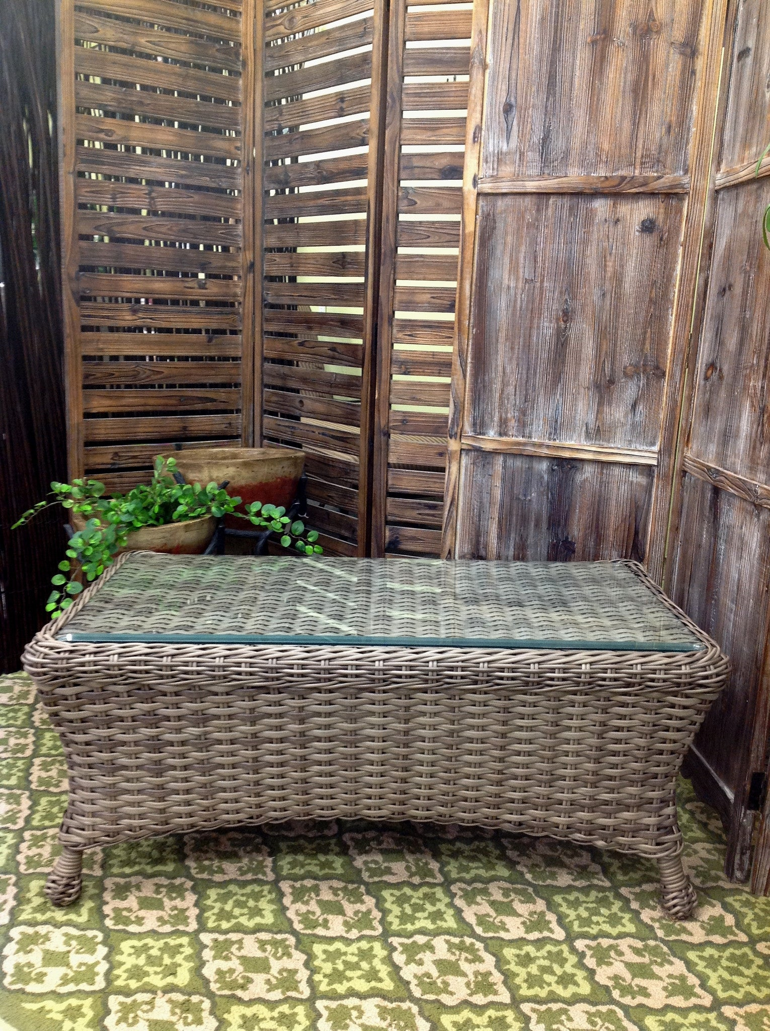 Captiva Outdoor Patio Woven Top Coffee Table With Glass - Warehouse Clearance - Outdoor Furniture, Indoor Furniture & Upholstery Store Spokane - Jacobs Custom Living