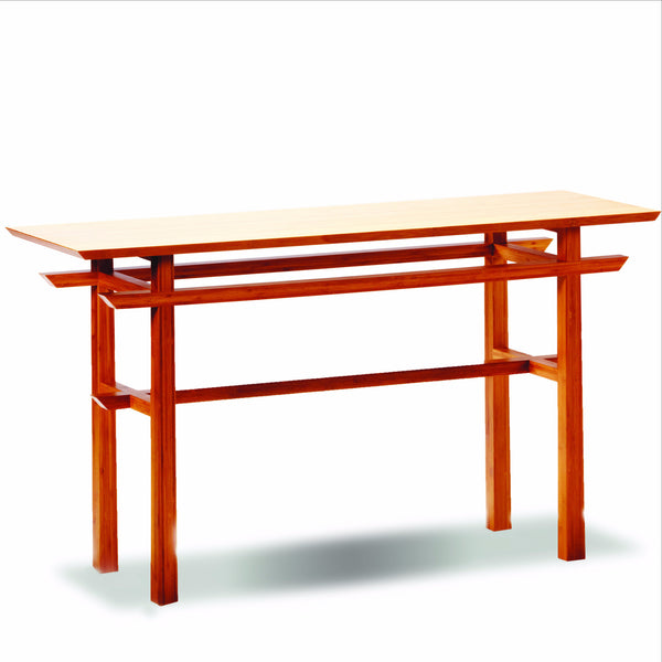 Greenington Lotus Console Table Caramalized is available at Jacobs Custom Living.