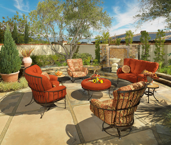 O.W. Lee Monterra Outdoor Patio Crescent Love Seat is available at Jacobs Custom Living.
