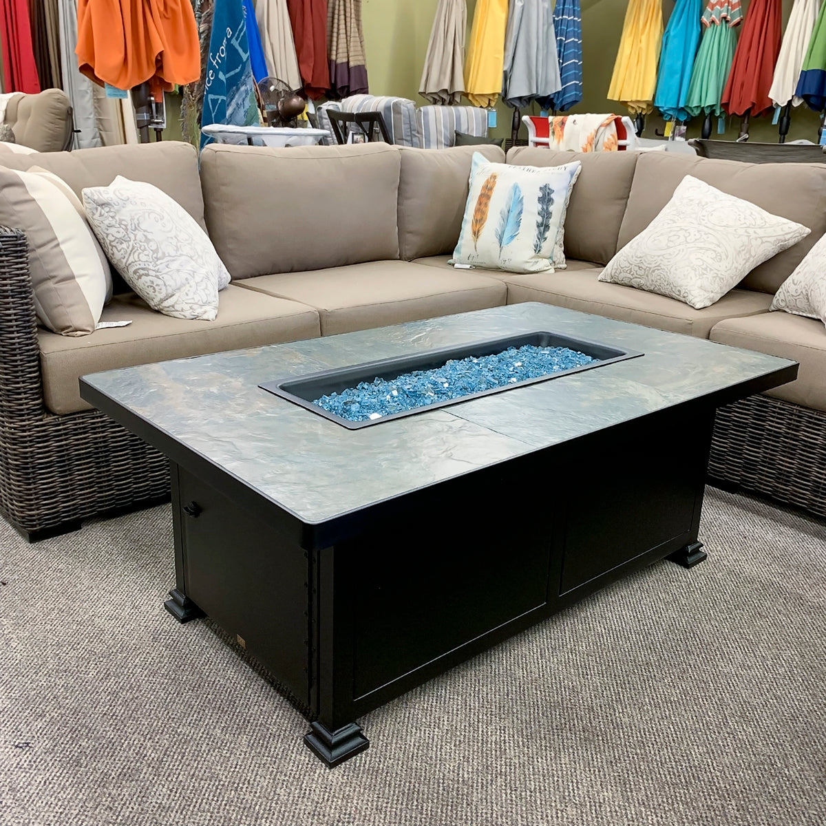 O.W. Lee Azul Slate Rectangle Fire Pit is available at Jacobs Custom Living our Jacobs Custom Living Spokane Valley showroom.
