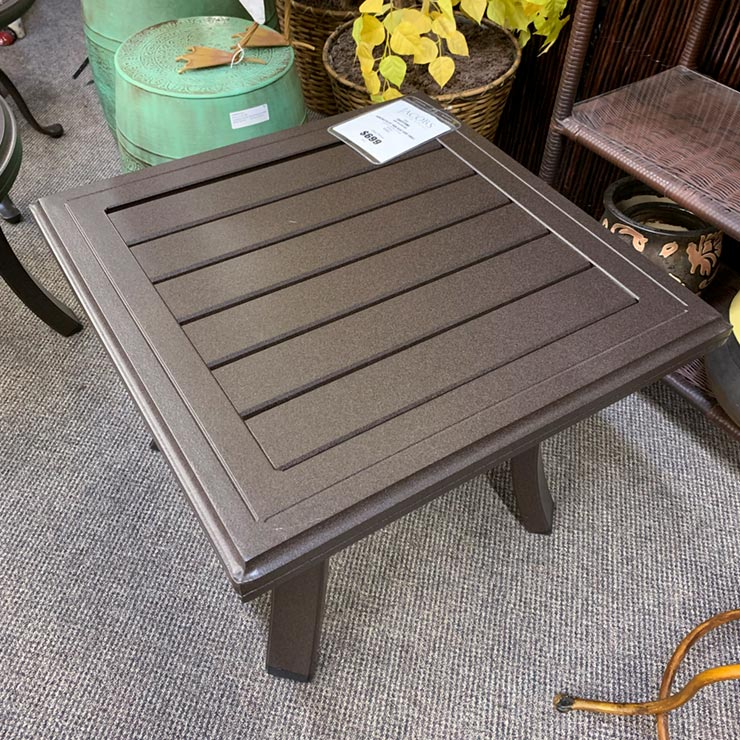 "Tropitone Banchetto 24"" Square Slat Side Table is available in our Jacobs Custom Living Spokane Valley WA Showroom."