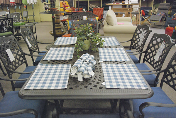 Hanamint Berkshire Butterfly Extension Outdoor Patio Dining Set is available at Jacobs Custom Living Spokane Valley showroom.