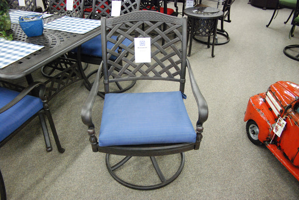 Hanamint Berkshire Outdoor Patio Swivel Rocker Dining Chair is available at Jacobs Custom Living Spokane Valley showroom.