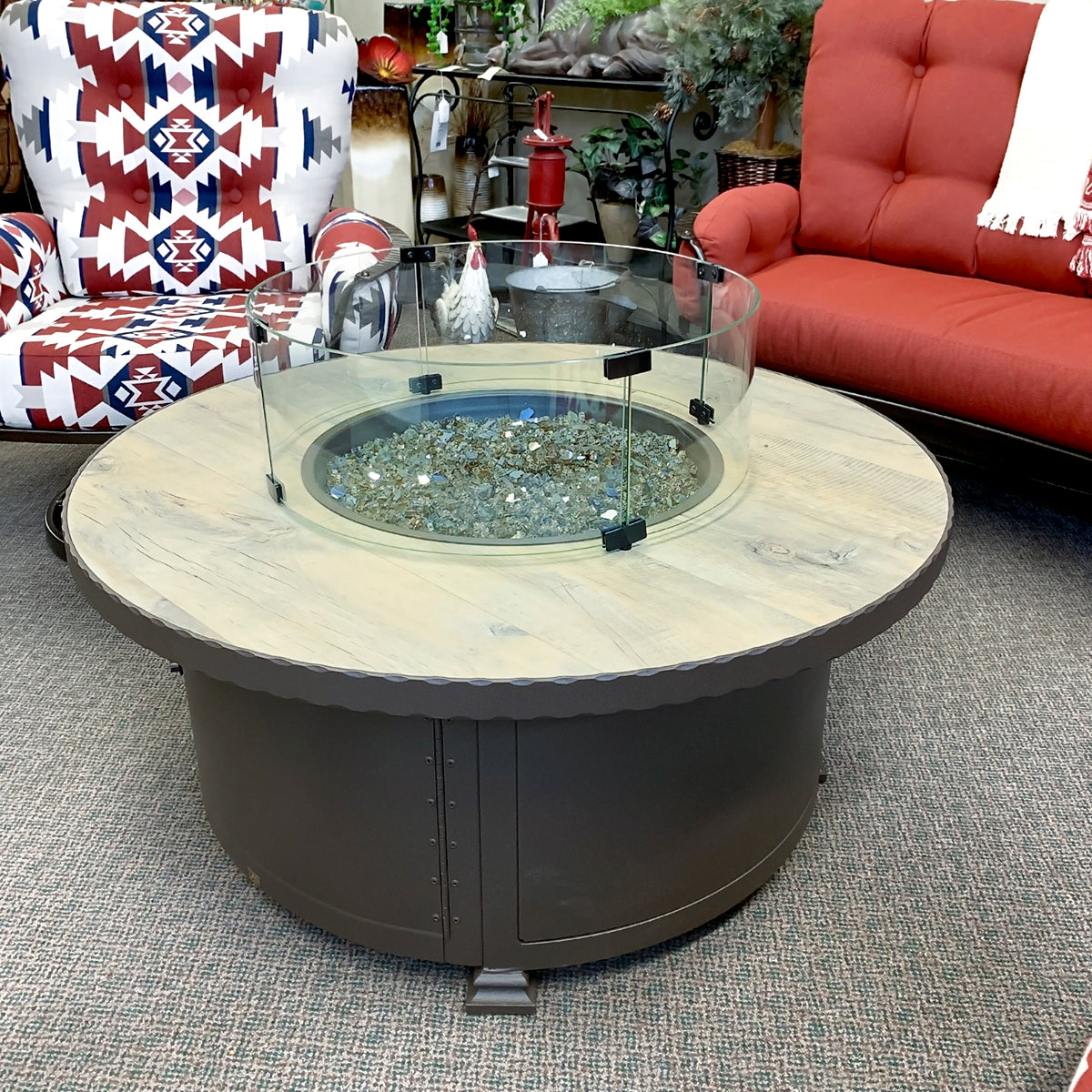 "O.W. Lee Buckskin 42"" Round Fire Pit W/Hammered Edge Santorini Rectangle Fire Pit is available at Jacobs Custom Living our Jacobs Custom Living Spokane Valley showroom."