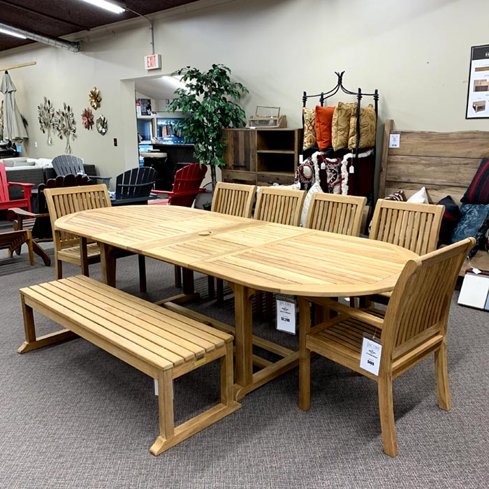 Kingsley Bate's Chelsea Patio Dining Bench is available at Jacobs Custom Living in Spokane WA.