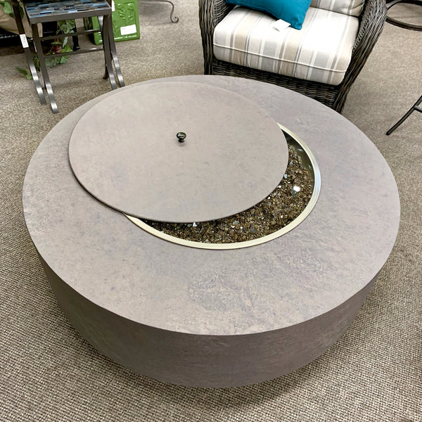 Patio Renaissance Faux Concrete Round Fire Pit with Lid is available at Jacobs Custom Living our Jacobs Custom Living Spokane Valley showroom.