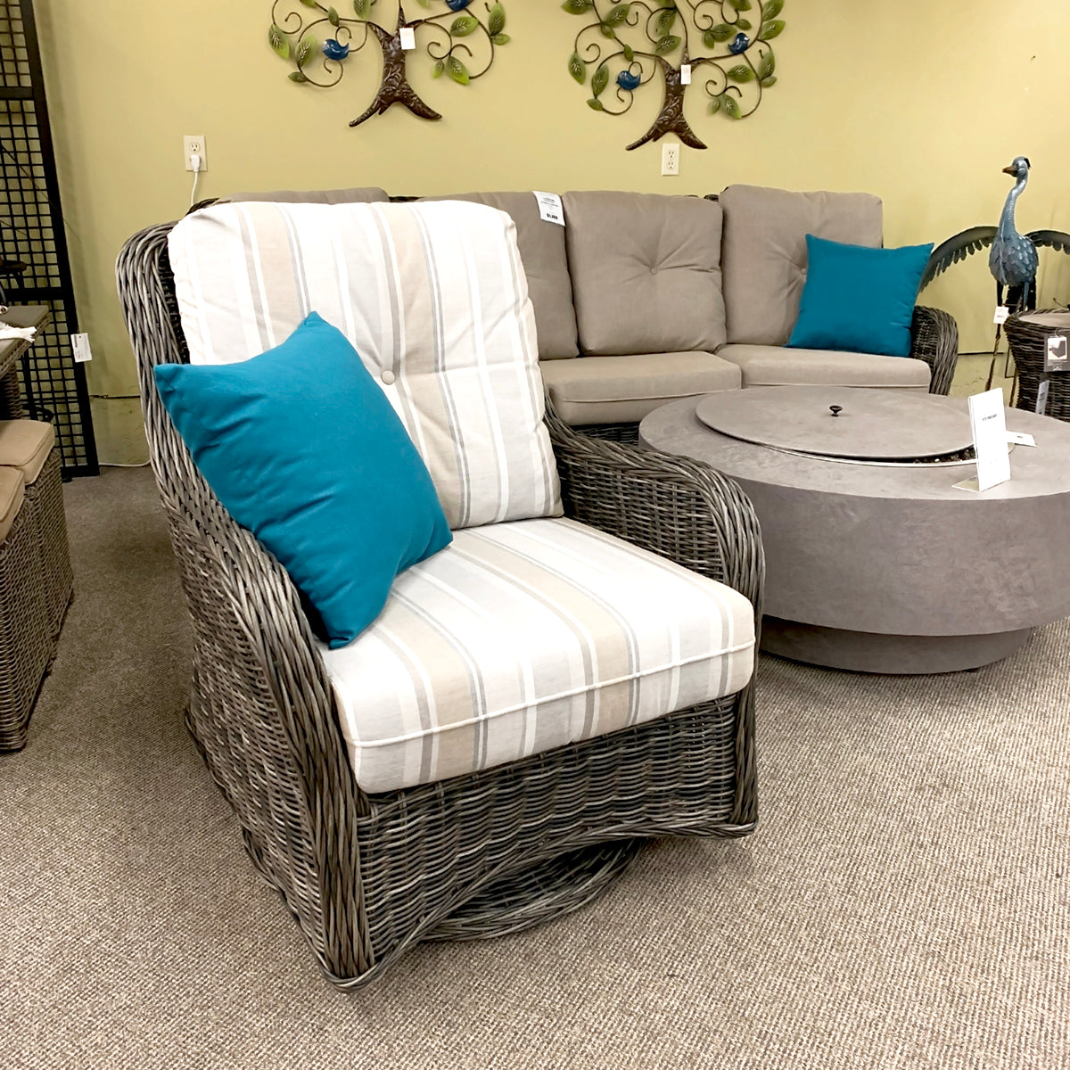 West Hampton Patio Lounge Swivel Glider Chair is available at Jacobs Custom Living our Jacobs Custom Living Spokane Valley showroom.