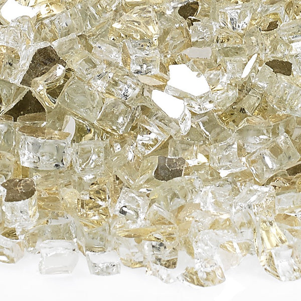 Gold Reflective Fire Glass Fire Media Kit is available at Jacobs Custom Living Spokane Valley showroom.