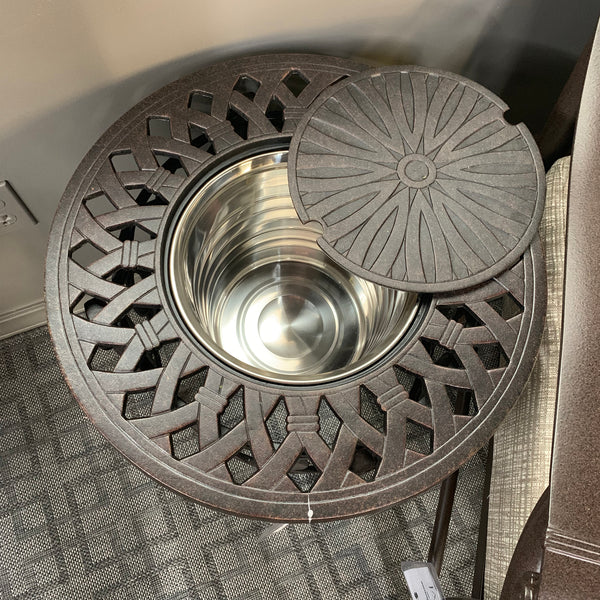 "Hanamint Mayfair 20"" round ice bucket side table is available in our Jacobs Custom Living Spokane Valley Showroom."