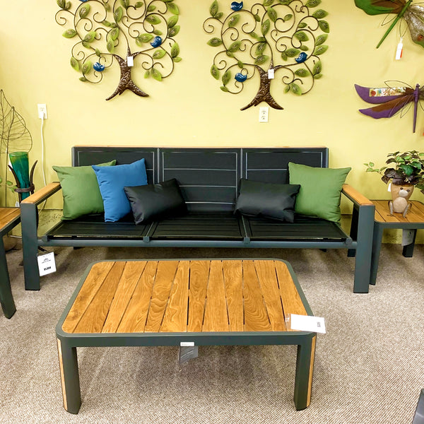IndoSoul Geneva Outdoor Patio Coffee Table With Full Teak Top in our Jacobs Custom Living Spokane Valley showroom.