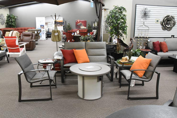 Tropitone Mainsail Padded Sling Love Seat is available at Jacobs Custom Living in Spokane Valley, WA.