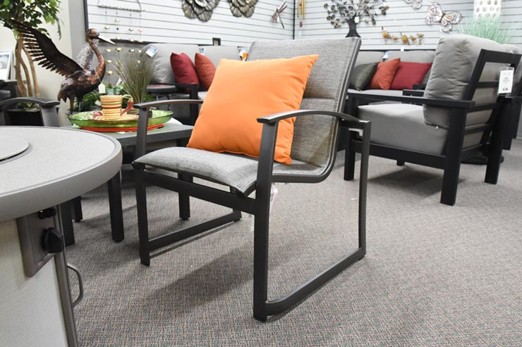 Tropitone Mainsail Padded Sling Dining Chair is available at Jacobs Custom Living in Spokane Valley, WA.