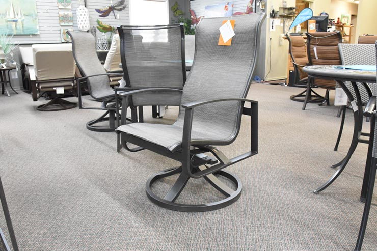 Tropitone Mainsail High Back Swivel Rocker Dining Chair is available at Jacobs Custom Living in Spokane Valley, WA.