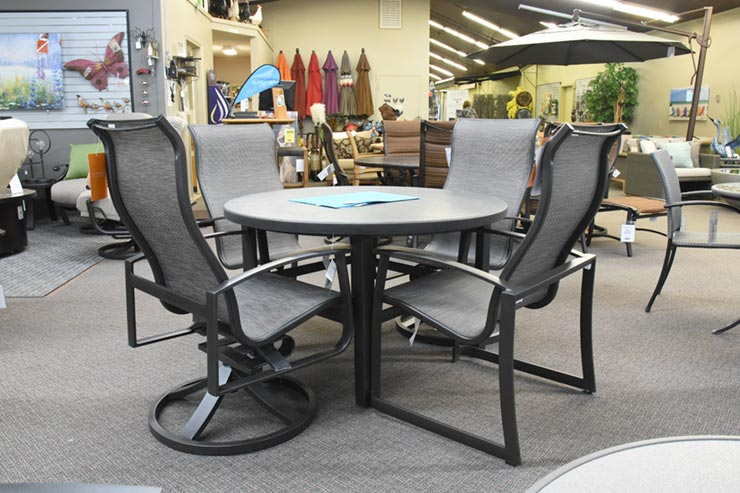 "Tropitone Matrix 48"" Round Dining Table is available at Jacobs Custom Living in Spokane Valley, WA."