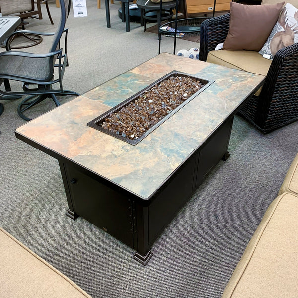 O.W. Lee Rustic Slate Santorini Rectangle Fire Pit is available at Jacobs Custom Living our Jacobs Custom Living Spokane Valley showroom.