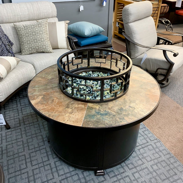 "O.W. Lee Rustic Slate 42"" Round Fire Pit is available at Jacobs Custom Living our Jacobs Custom Living Spokane Valley showroom."