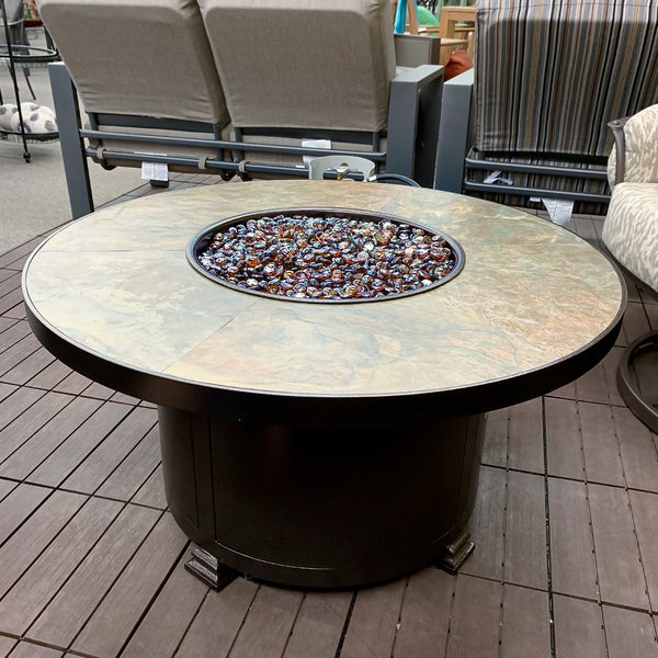 O.W. Lee Rustic Slate Round Fire Pit is available at Jacobs Custom Living our Jacobs Custom Living Spokane Valley showroom.