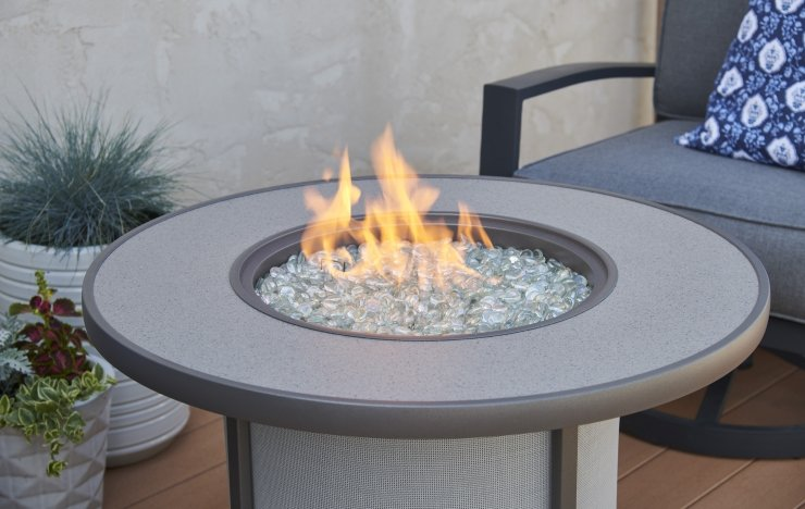 grey stonefire fire pit table at Jacobs Custom Living Spokane WA