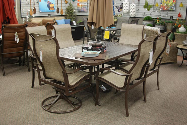 Tropitone Shoreline High Back Swivel Rocker Dining Chair is available in our Jacobs Custom Living Spokane Valley showroom.