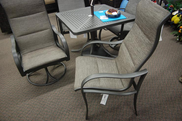 Tropitone Shoreline Padded Sling High Back Dining Chair is available at Jacobs Custom Living in Spokane Valley, WA.