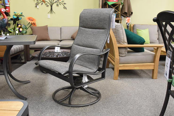 Tropitone Shoreline Padded Sling High Back Swivel Rocker Dining Chair is available at Jacobs Custom Living in Spokane Valley, WA.