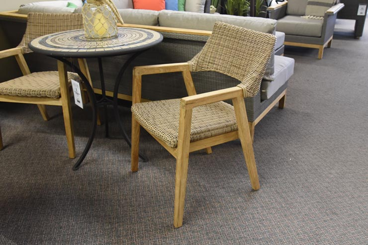 Kingsley Bate's Spencer Patio Dining Arm Chair is available at Jacobs Custom Living in Spokane WA.