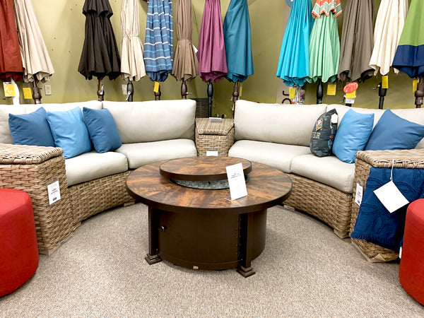 Leisure Garden Sunset Curved Patio Sectional is available at Jacobs Custom Living our Jacobs Custom Living Spokane Valley showroom.