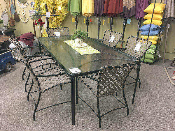"The Brown Jordan Tamiami 43""x77"" Glass Top Dining Table is available in our Jacobs Custom Living Spokane Valley showroom."