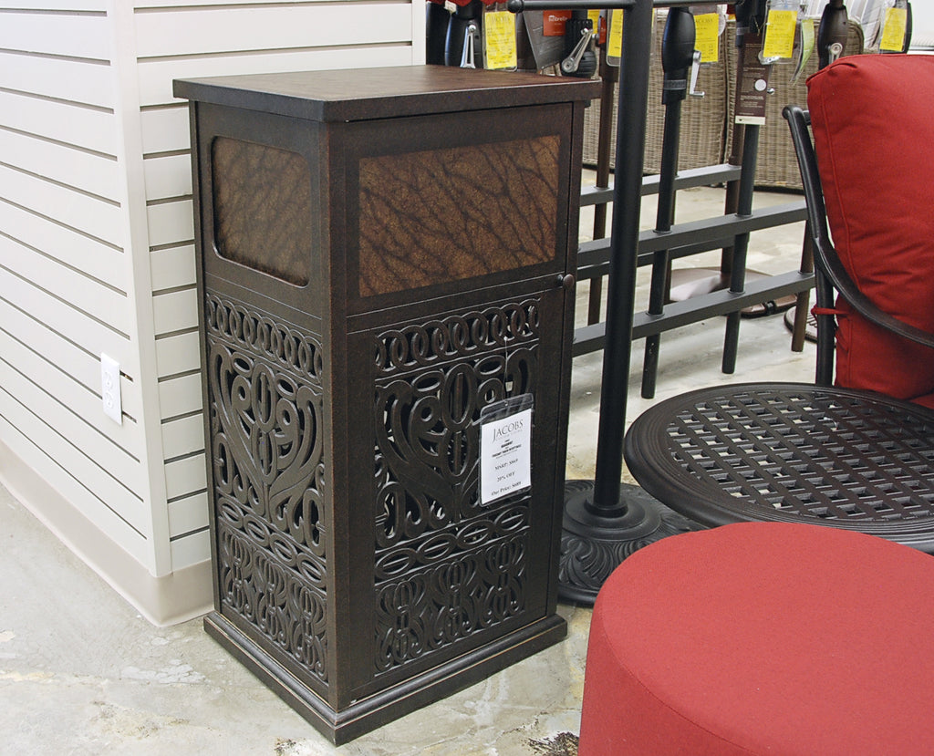 Hanamint Tuscany Trash Receptacle is available in our Jacobs Custom Living Spokane Valley Showroom.