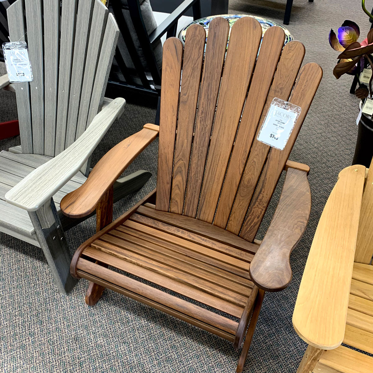 Jensen Leisure Adirondack Chair is available in our Jacobs Custom Living, Spokane Valley showroom.