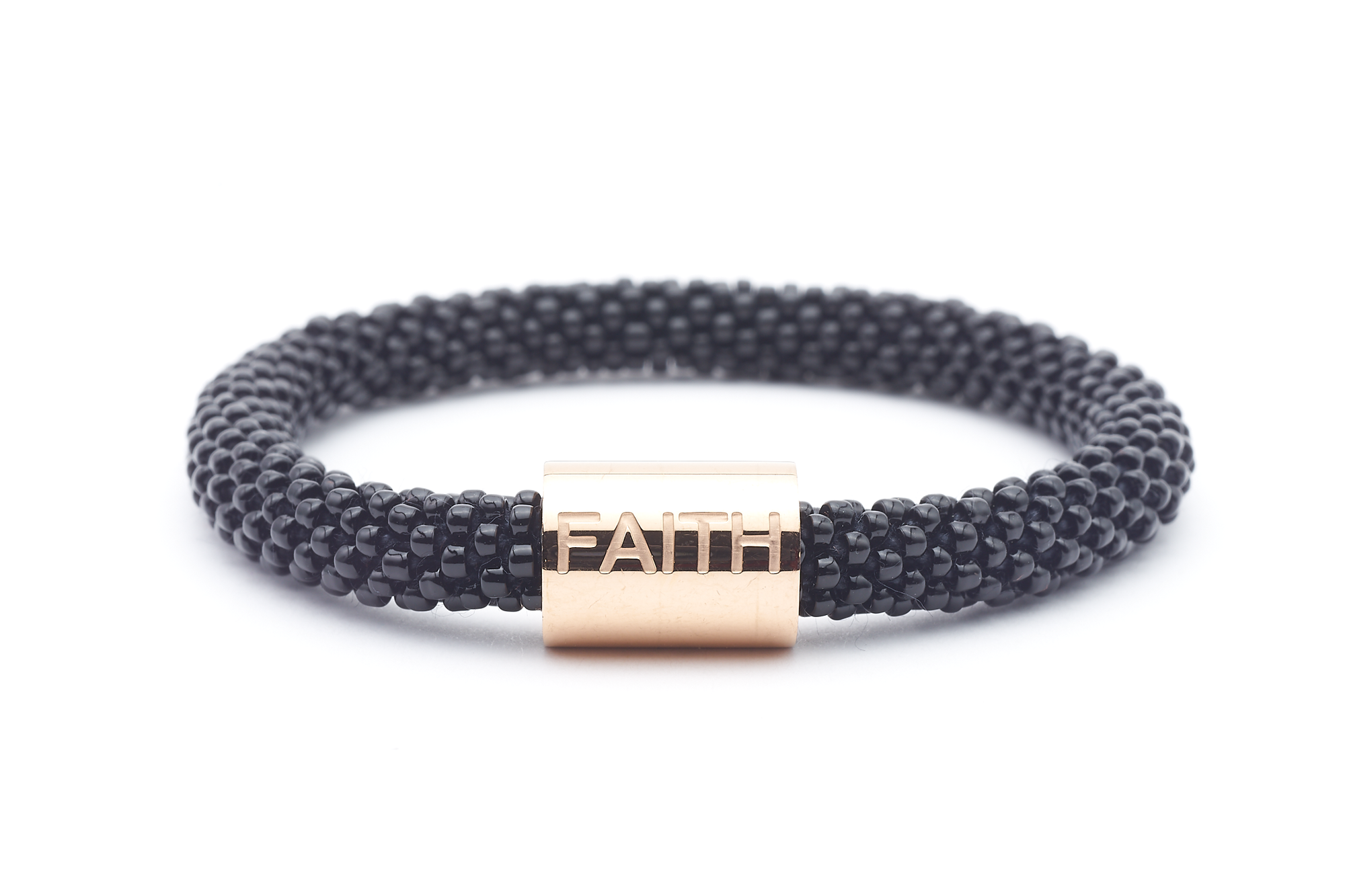 "Sashka Co. Extended 8"" Bracelet Black w/ Rose Gold Faith Charm Faith Word Bracelet - Extended 8"""