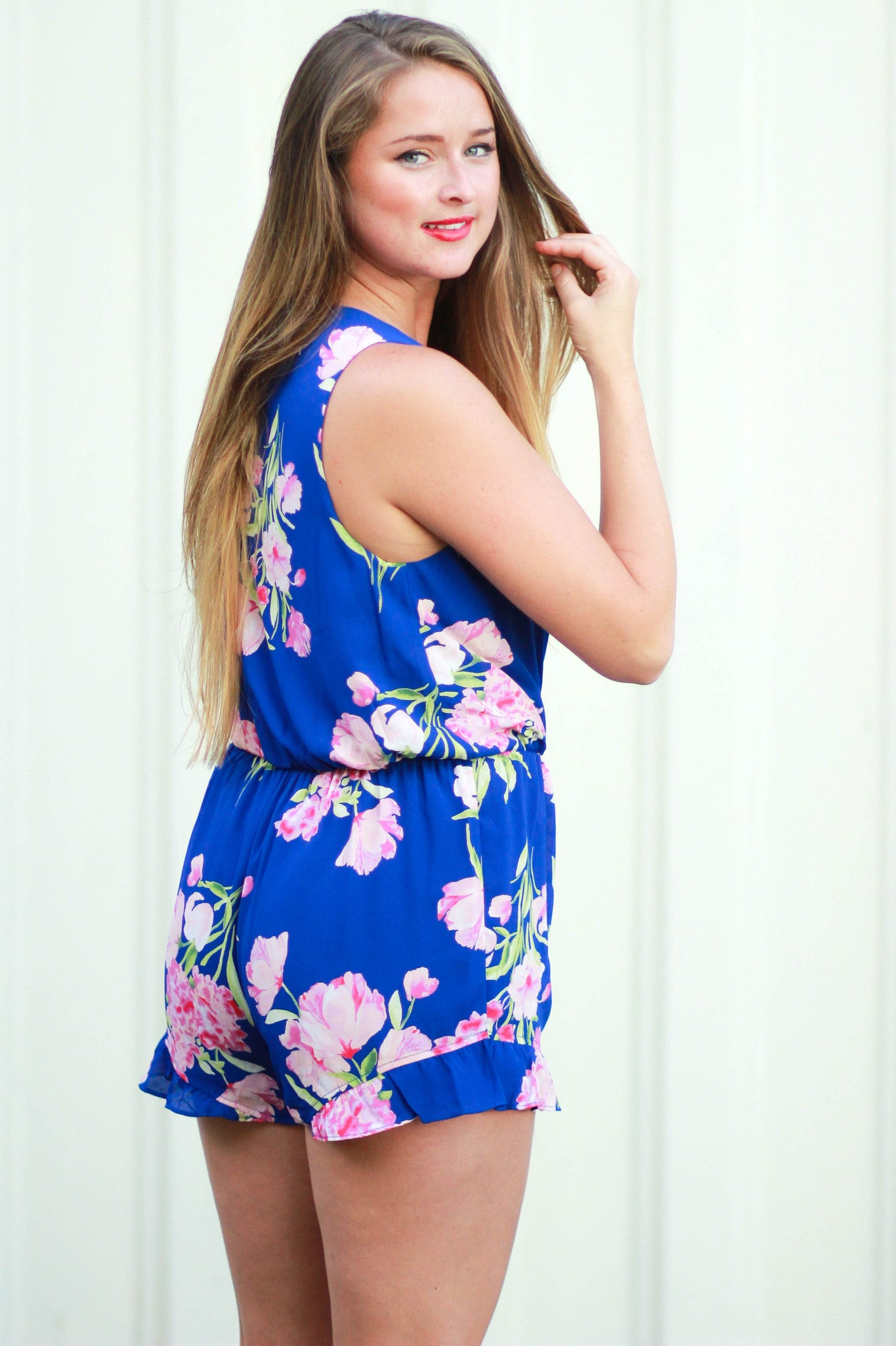 Bright Blue Ruffle Romper - Never Naked Boutique