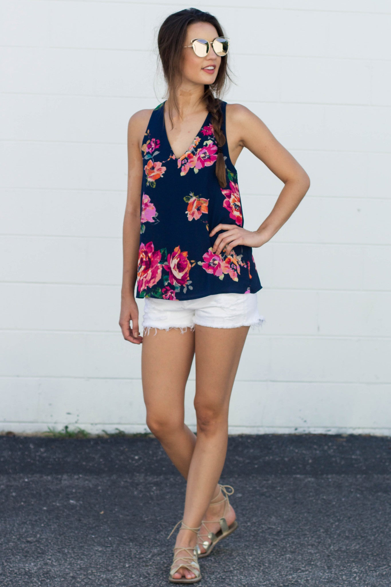 Navy Florals and You Top