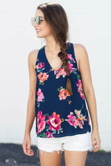 Navy Florals and You Top - Never Naked Boutique