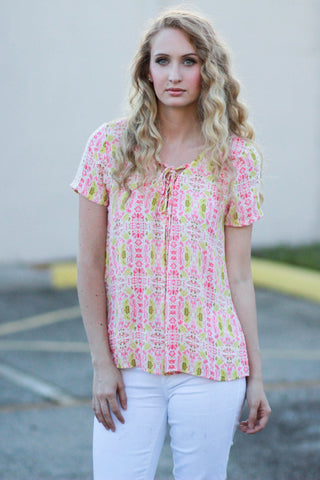 Cateye Pink and Yellow Top